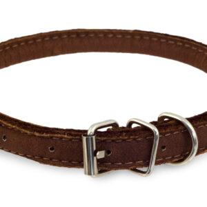 | Läderhalsband Soft ställbart Brun XS